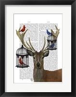Deer & Bird Cages Framed Print