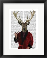 Deer in Smoking Jacket Framed Print