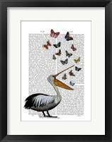 Pelican & Butterflies Framed Print