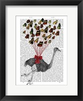 Framed Ostrich Flying with Butterflies
