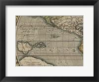 Framed Antique World Map Grid IV