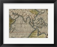 Antique World Map Grid VI Framed Print
