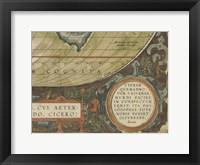 Framed Antique World Map Grid IX
