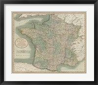 Vintage Map of France Framed Print