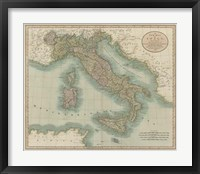 Framed Vintage Map of Italy