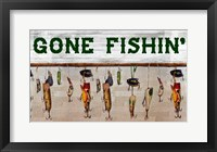 Framed Gone Fishin' Wood Fishing Lure Sign