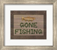 Framed Gone Fishing Sign