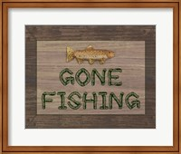 Framed Gone Fishing Sign