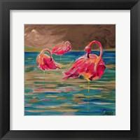 Framed Trio Flamingos