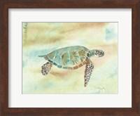 Framed Crystal Tone Sea Turtle