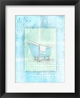 Soft Blue Bath Framed Print