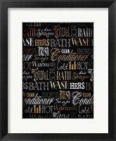 Framed Bath Typography Gold