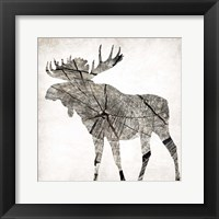 Wood Moose Mate Framed Print
