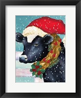 Christmas Cow Vertical Framed Print