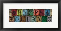 Christmas Woodblock Letters 5 Framed Print