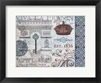 Paris Pair Rect Blue Brown 01 Framed Print