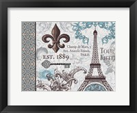 Paris Pair Rect Blue Brown 02 Framed Print