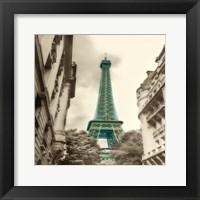 Framed Teal Eiffel Tower 2