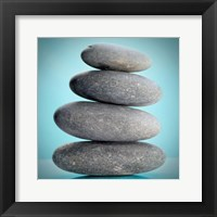 Stacking Stones 2 Teal Framed Print