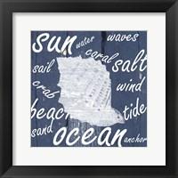 Framed White And Blue Coastal