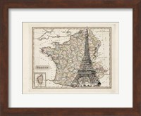 Framed Eiffel Tower Map