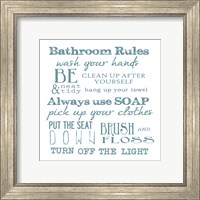 Framed Bathroom Rules White