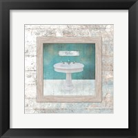 Framed Aqua Bath Sink Framed Print