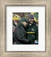 Framed Brett Favre & Bart Starr at Favre's number retirement ceremony at Lambeau Field- November 26, 2015