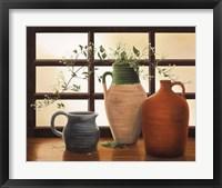 Framed Olive Jar With Flowering Vine