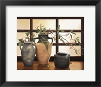 Framed Olive Jar With Red Berry Branches