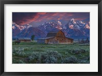 Framed Mormon Row Barn Sunrise
