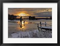 Framed Hunter In Snowy Lake