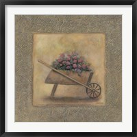 Framed Flowers In A Wheelbarrow