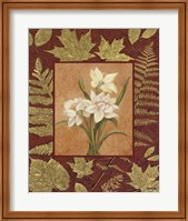 Framed White Flowers With Leaf Border