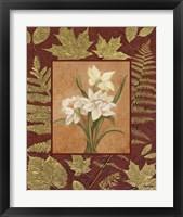 White Flowers With Leaf Border Framed Print