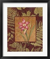 Pink Flowers With Leaf Border 2 Framed Print