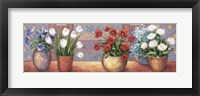 Framed Row Of Flower Pots - B
