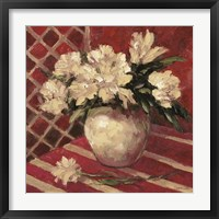 Peonies In Vase Framed Print