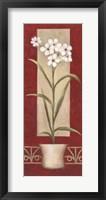 White Flowers In Pot Framed Print