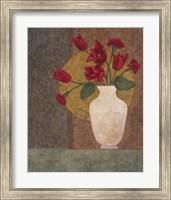 Framed Red Tulips in a Vase