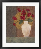Framed Red Tulips in a Vase
