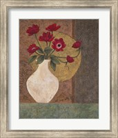 Framed Red Poppies in a Vase