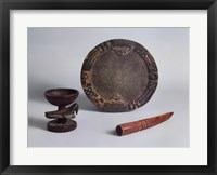 Framed Ifa Divination Bowl, Tray & Tapper
