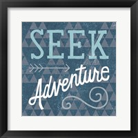 Mod Triangles Seek Adventure Blue Framed Print
