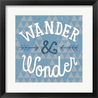 Mod Triangles Wander and Wonder Blue Framed Print