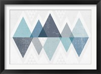 Mod Triangles II Blue Framed Print