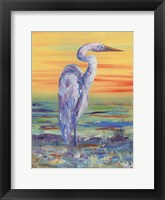 Framed Egret Sunset I