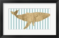 Framed Pin Stripe Whale I