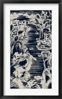 Chinese Bird's-eye View in Navy I Framed Print