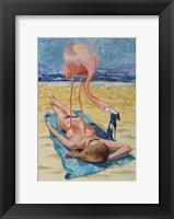 Framed Flamingo On Sun Bather